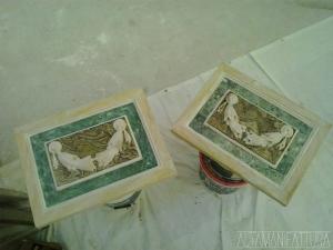 Riproduzione in gesso di un bassorilievo in marmi policromi. FASE 3