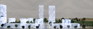 Modello architettonico di P.U.A. via Botteghelle, Napoli realizzato per lo Studio UAP e il Comune di Napoli.