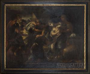 """Dipinto olio su tela.""""Morte di Lucrezia""""Stato di conservazione iniziale."""