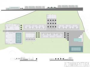 Planimetria e prospetti per ipotesi di progetto della Casa dello studente, Napoli