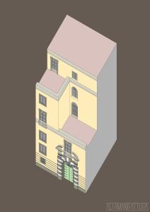 Vista assonometrica per progetto di restauro, Napoli