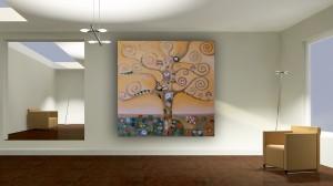 Riproduzione di un dettaglio di un quadro di Klimt