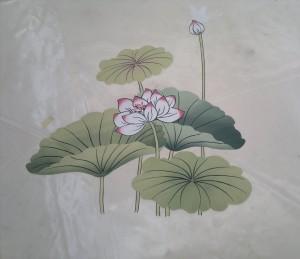 Decorazione  floreale di telo un pvc per esterni.