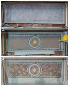 Decorazione con la tecnica imitativa del marmo del paliotto di un altare.